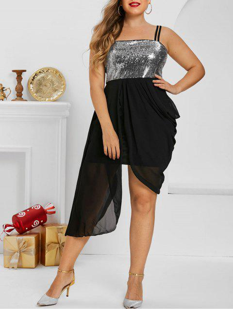 Plus Size Asymmetric Sequined Ruched Draped Cami Dress