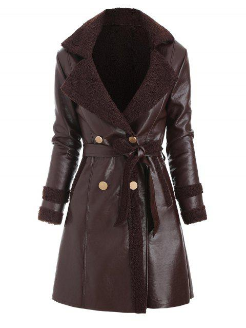 Faux Leather Shearling Insert Belted Pocket Coat