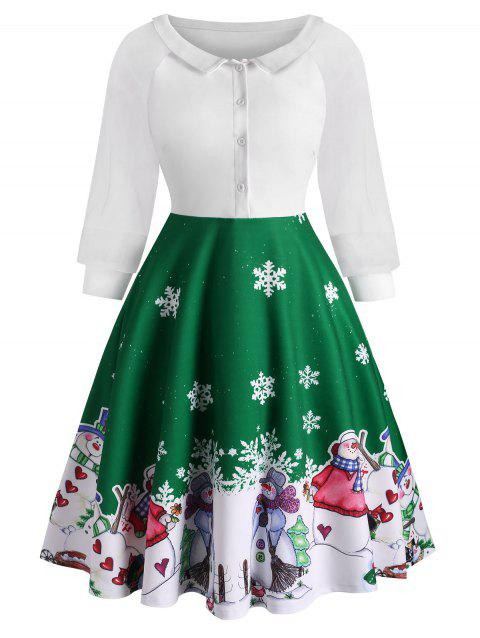 Half Button Xmas Snowman Snowflake Organza Sleeves Dress