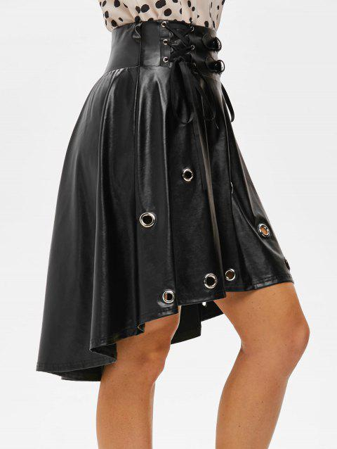Punk Grommets Lace Up High Low Faux Leather Skirt