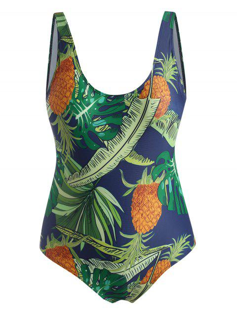 Plus Size Tropical Leaf Pineapple One-piece Swimsuit