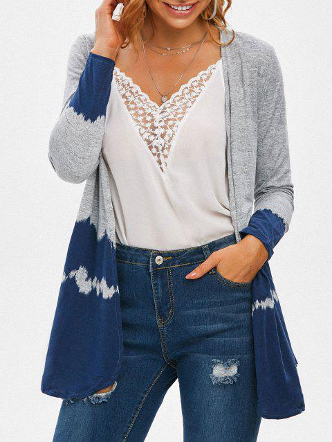 Hit Color Long Sleeve Collarless Cardigan