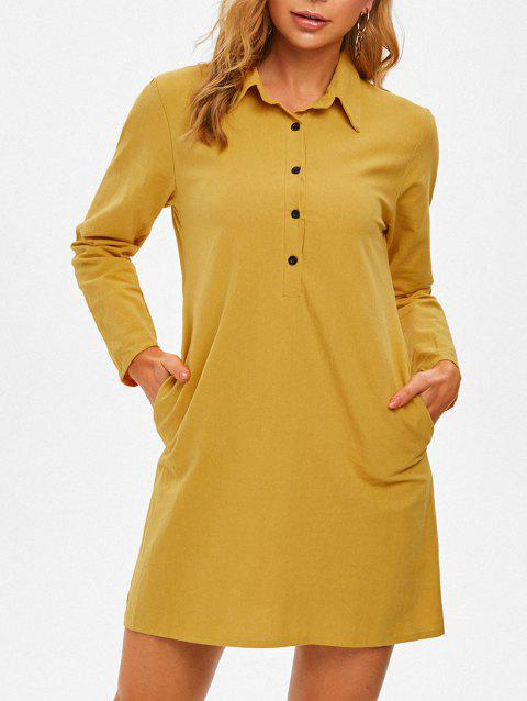Half Button Long Sleeve Shirt Dress