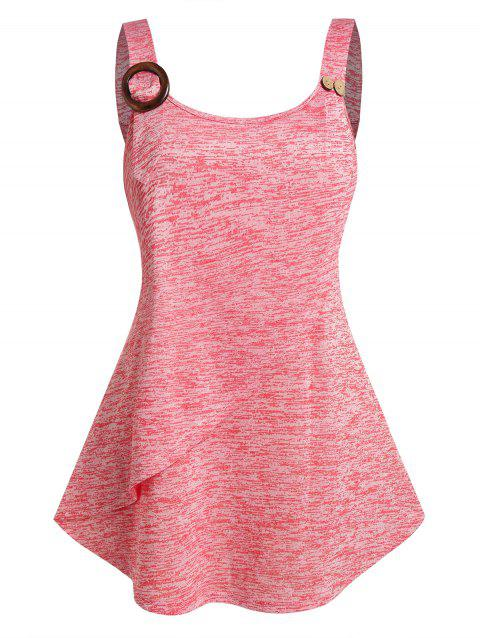 Plus Size Button O Ring Layers Tank Top