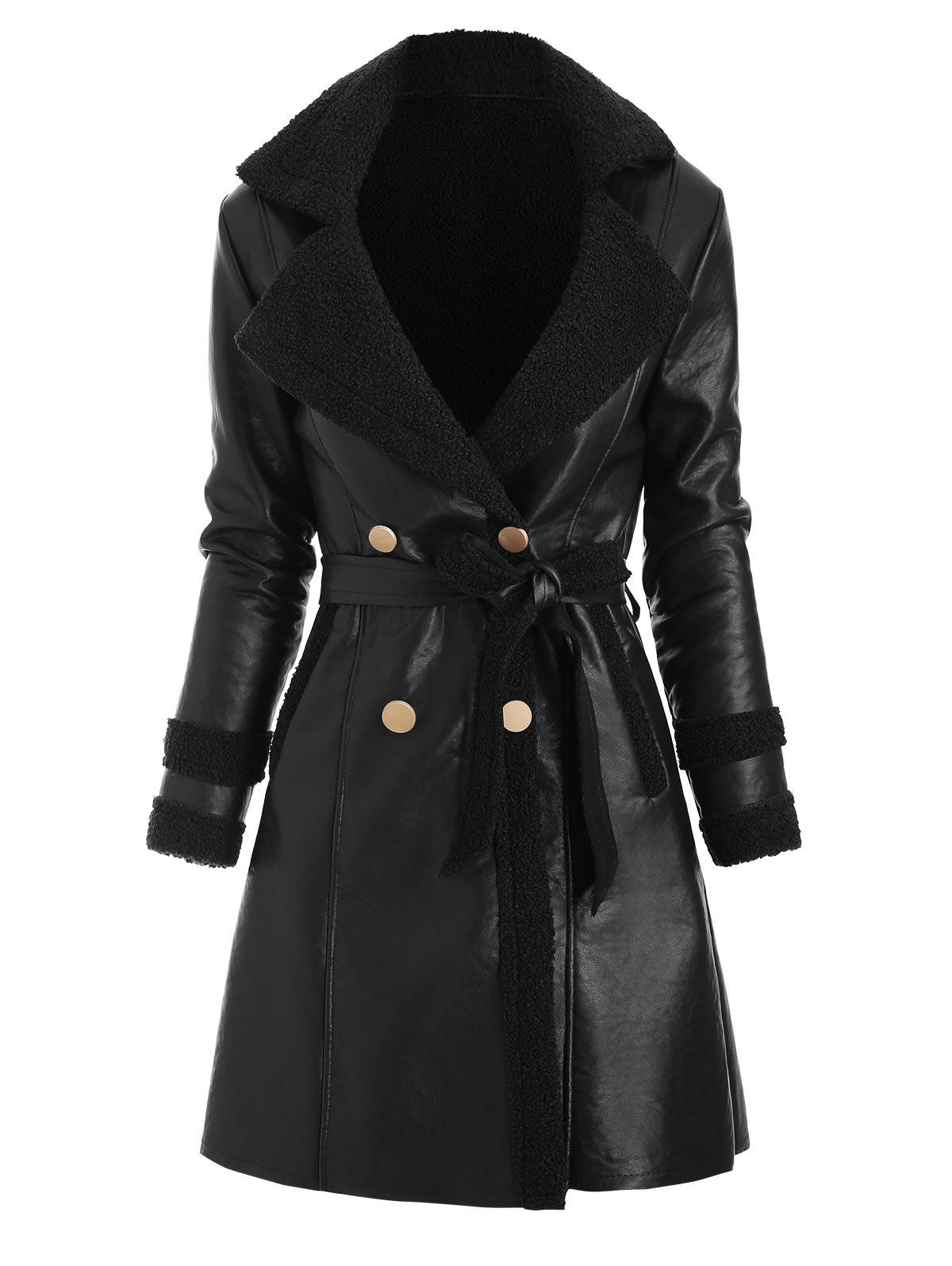 Faux Leather Shearling Insert Belted Pocket Coat - BLACK 2XL