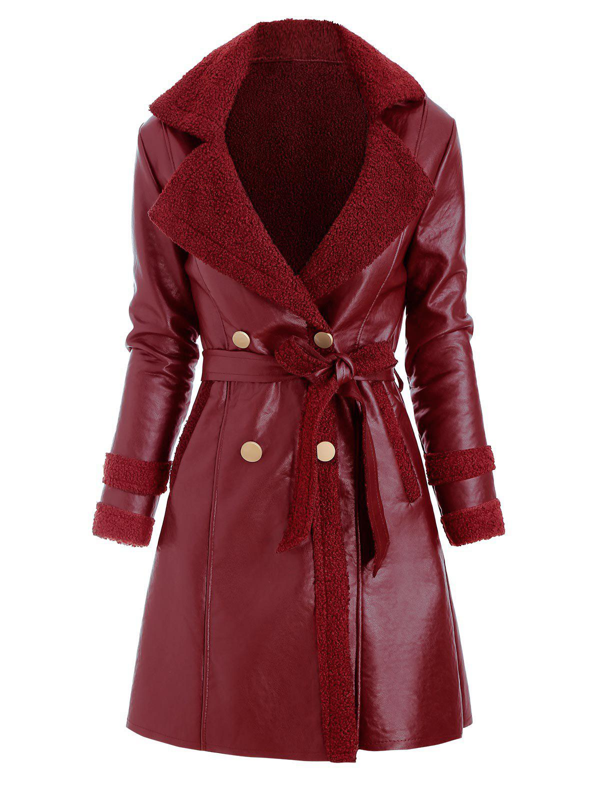 Faux Leather Shearling Insert Belted Pocket Coat - RED WINE 3XL