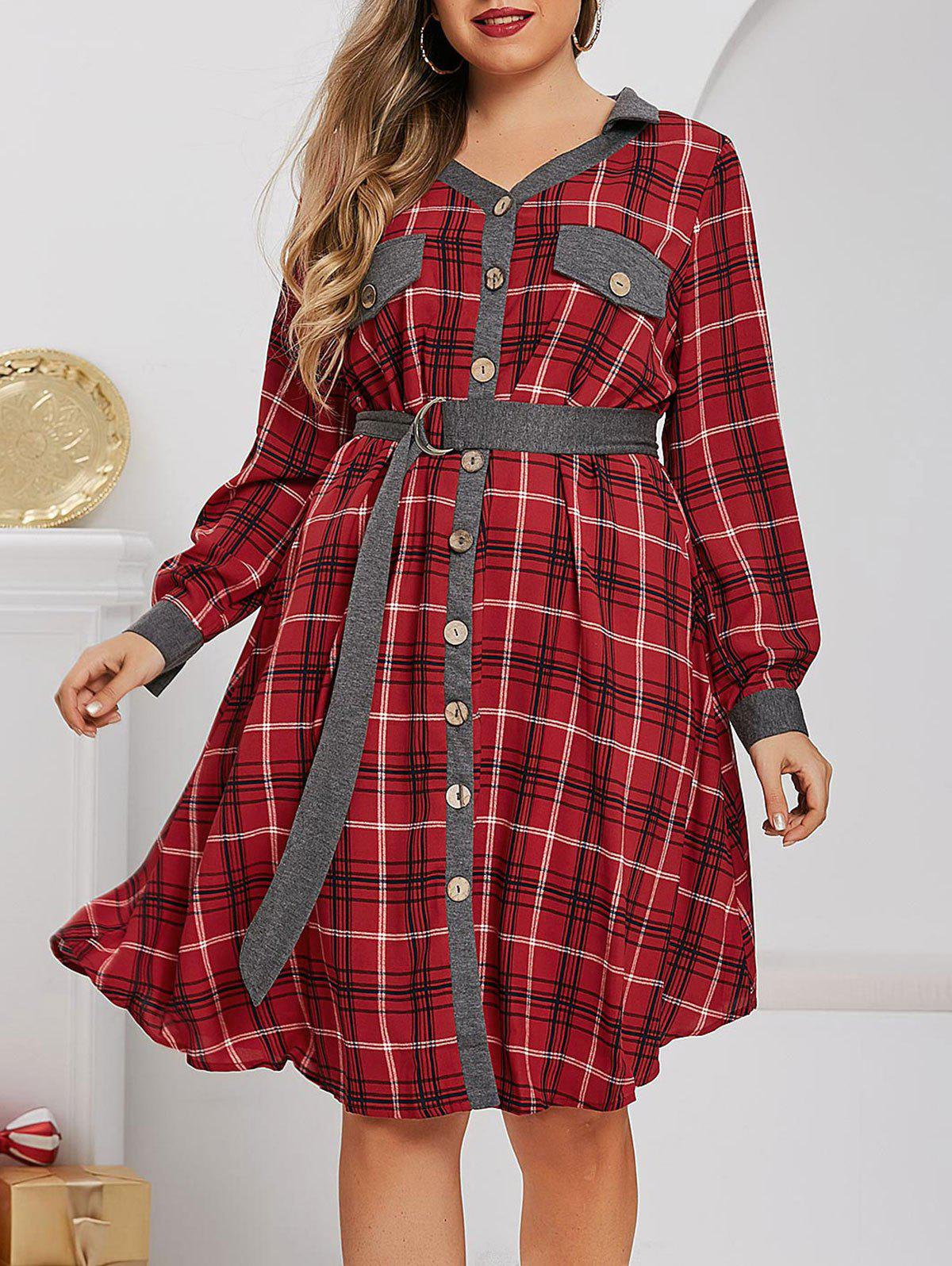 Plus Size Plaid Flap Detail Roll Up Sleeve Dress - LAVA RED 1X
