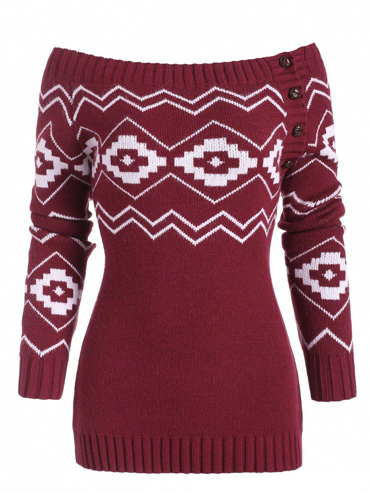 Off Shoulder Button Side Zig Zag Geometric Sweater - DEEP RED L