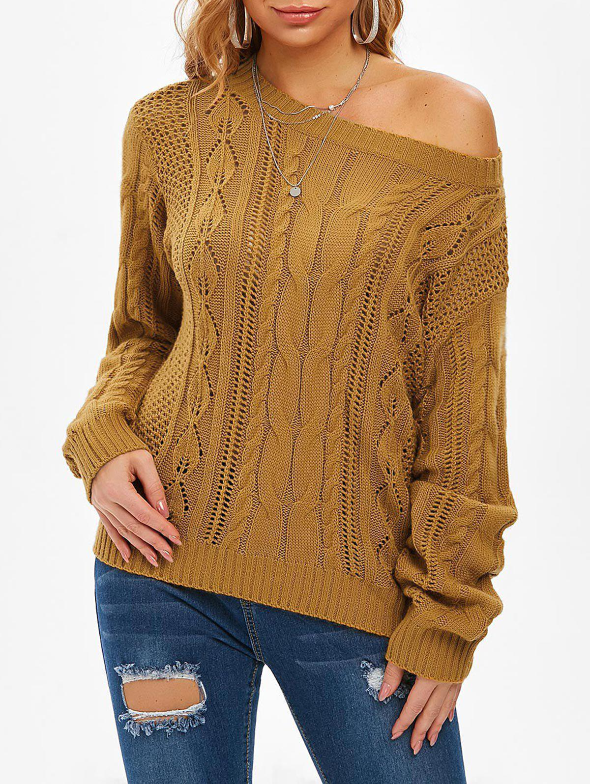 Chandail Pull-over Ajouré en Tricot à Câble - Deep Yellow M