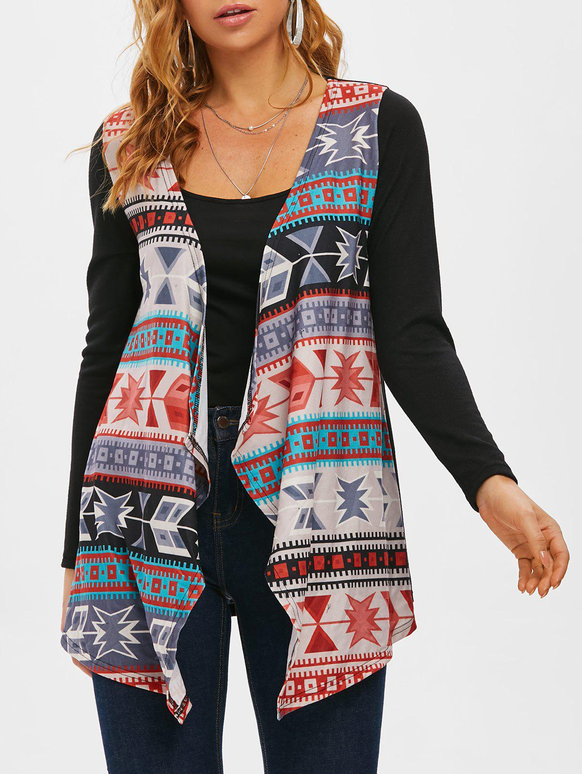 Tribal Waterfall Collar Open Front Cardigan - multicolor 3XL