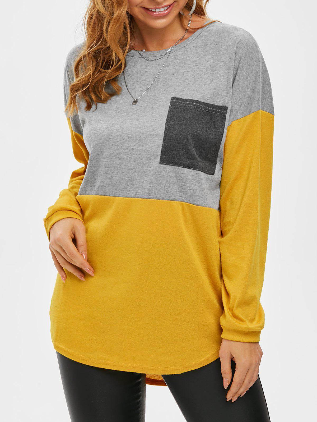 Color Blocking Chest Pocket Jersey Knit Long Sleeve Tee - YELLOW 2XL