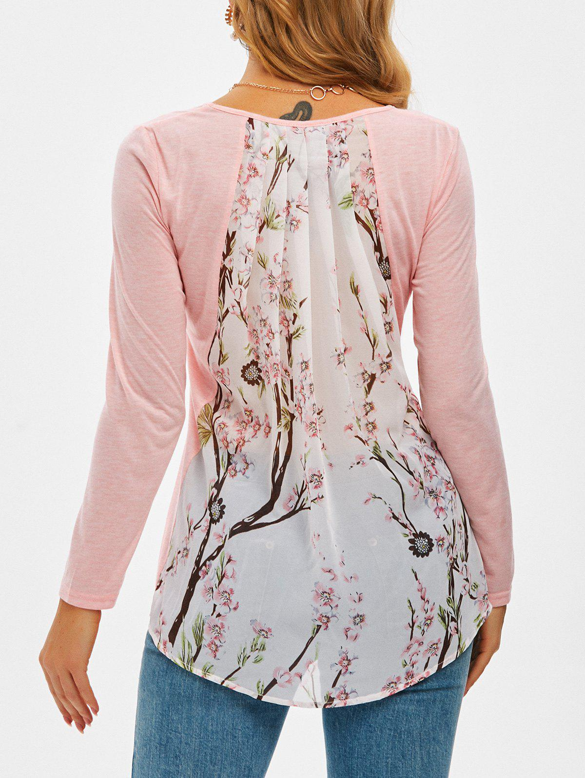 Peach Blossom Print Chiffon Panel High Low T Shirt - PINK 2XL