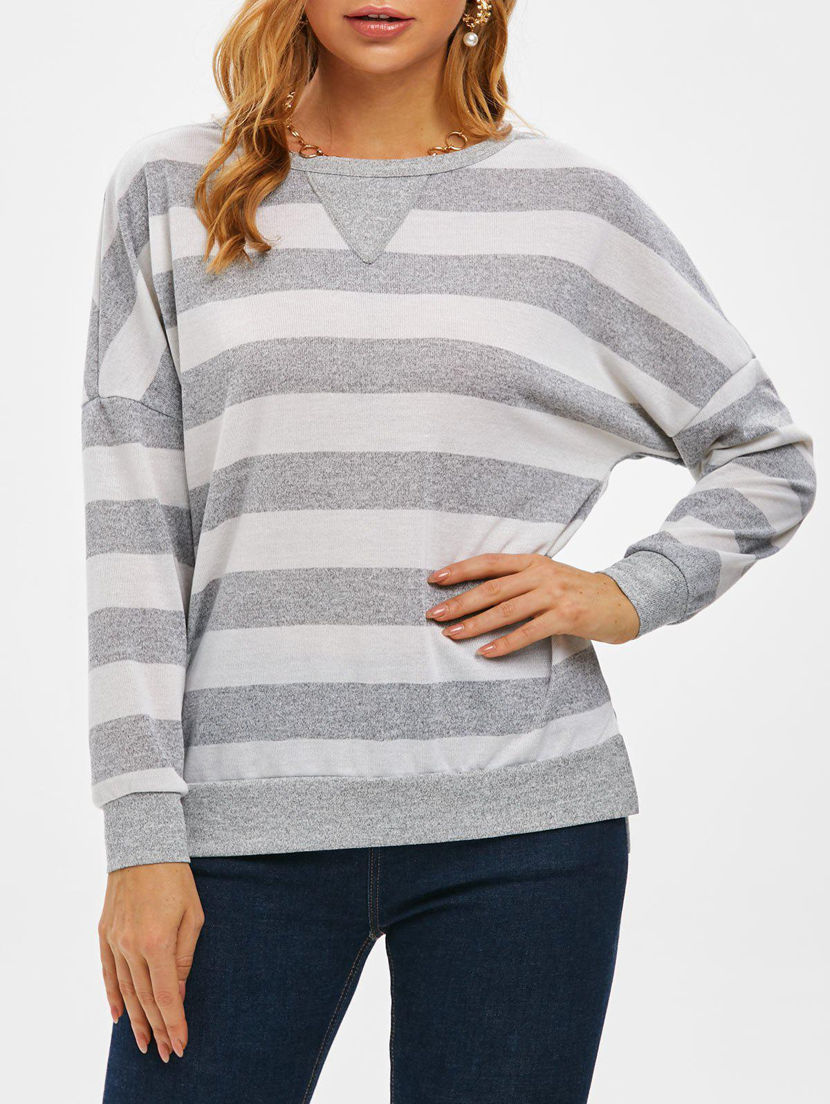 Two Tone Striped Drop Shoulder Slit Tunic Knitwear - LIGHT GRAY XL