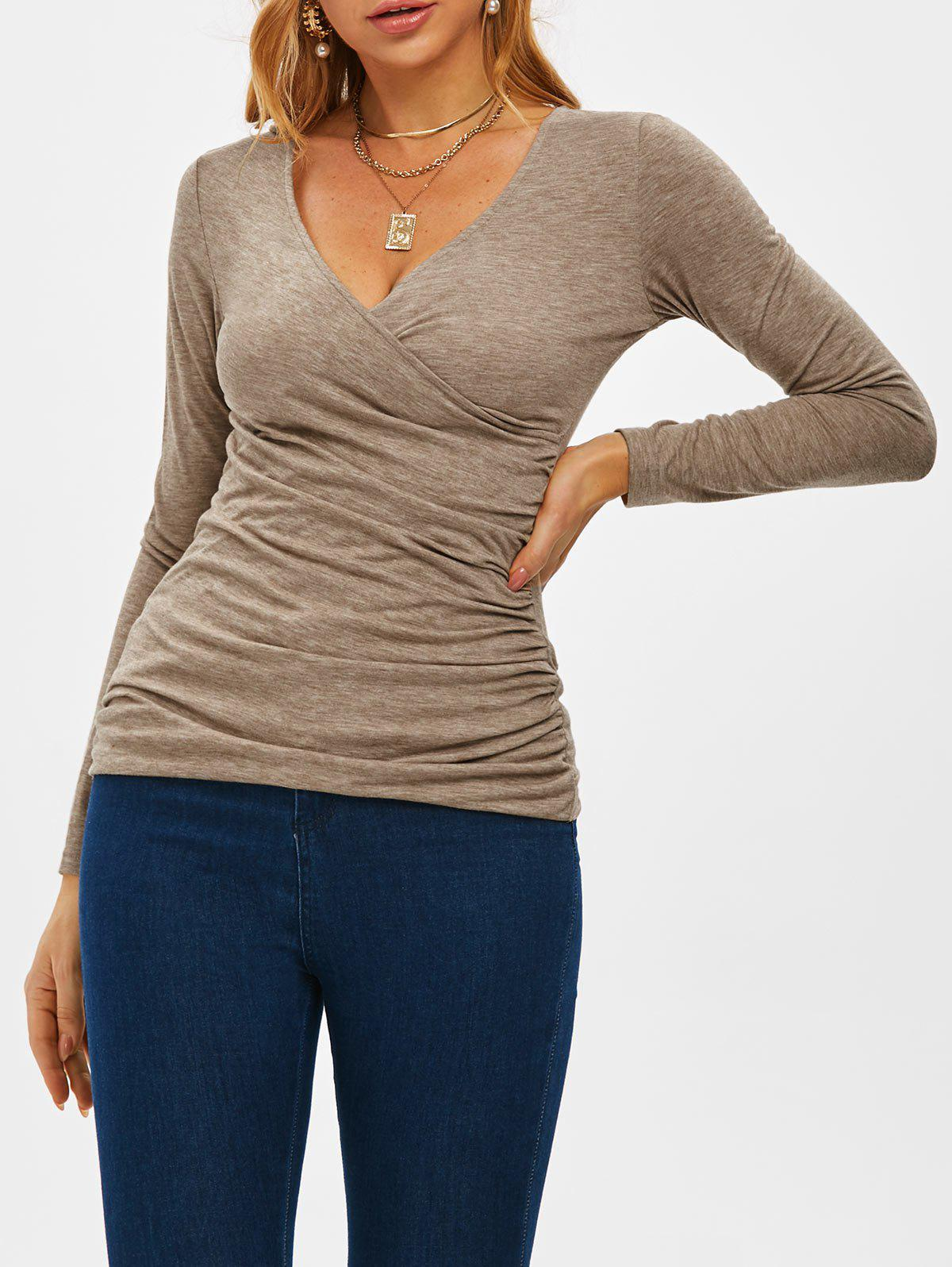Fitted V Neck Ruched Wrap Top - COFFEE XL