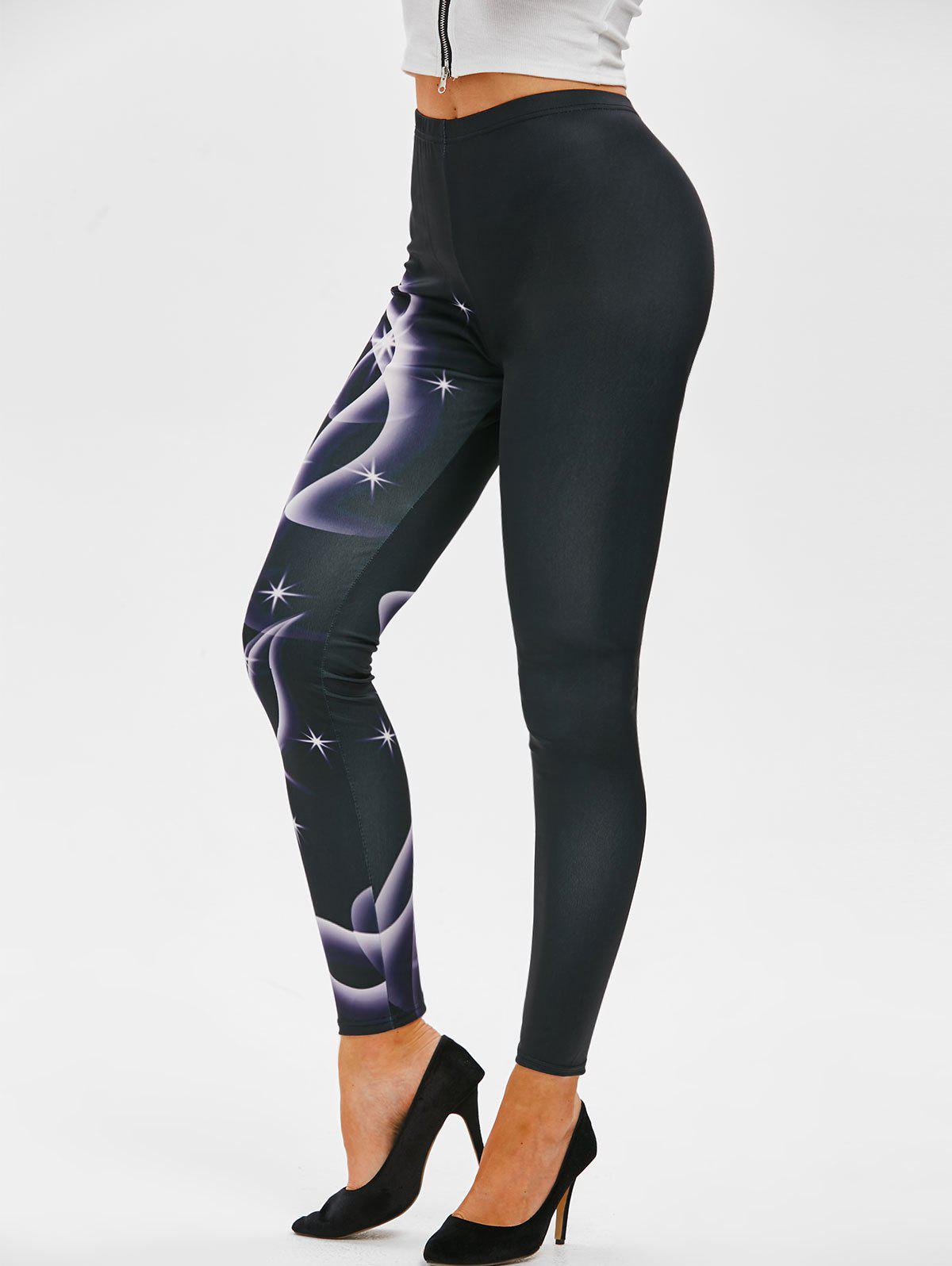 Abstract Butterfly Print Leggings - BLACK XL
