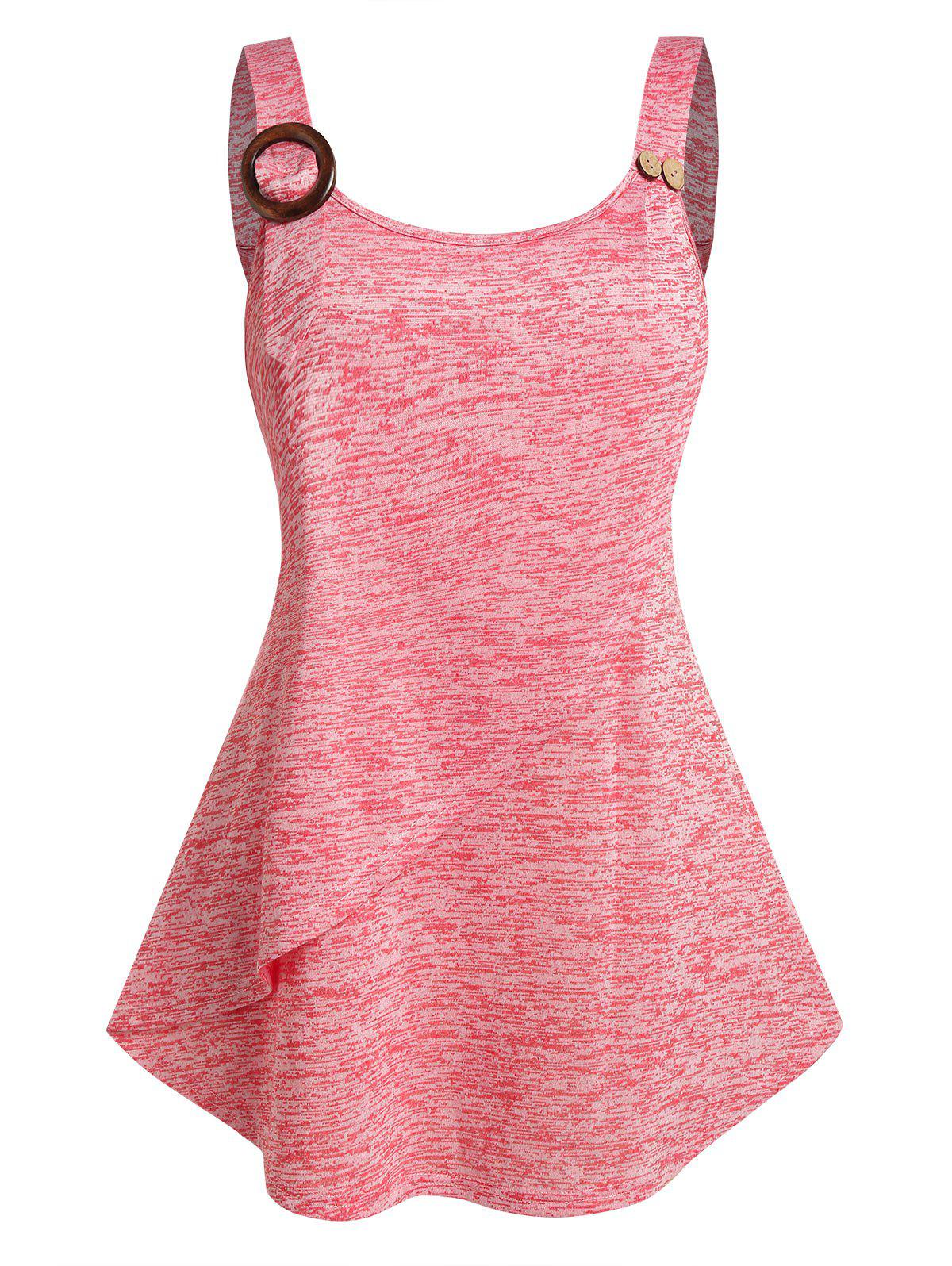 Plus Size Button O Ring Layers Tank Top - LIGHT PINK 5X