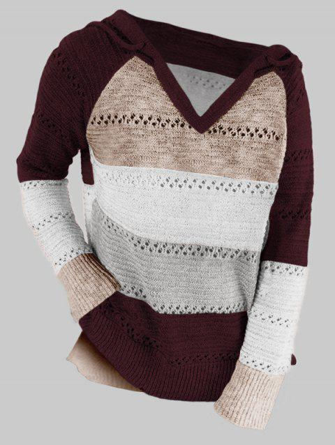 Plus Size Colorblock Hooded Slit Pointelle Knit Sweater