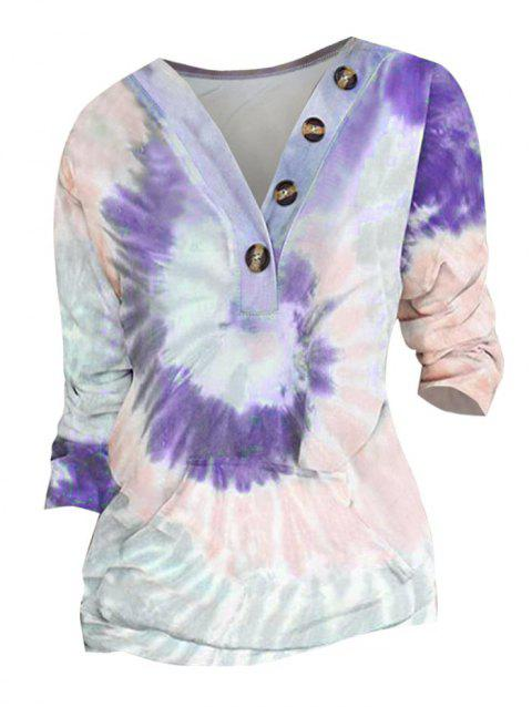 Plus Size Tie Dye Button Embellished Pocket Sweatshirt