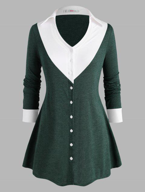 Button Up Colorblock Heathered Plus Size Top