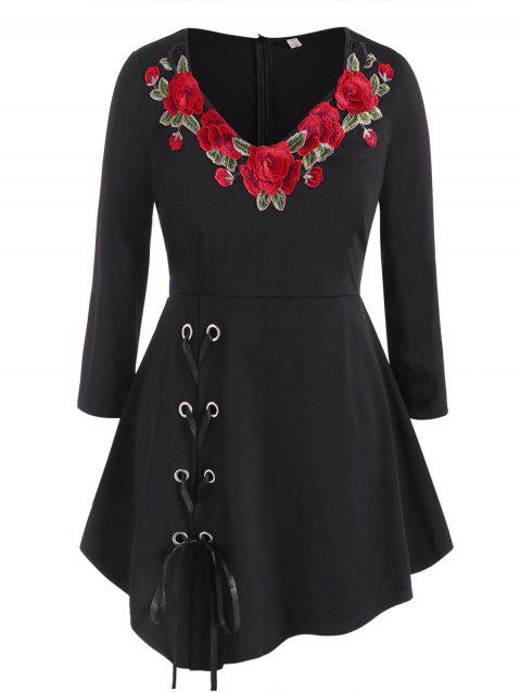 Floral Embroidered Patched Lace Up Plus Size Skirted Top