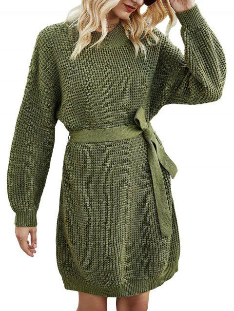 Crew Neck Belted Sweater Dress