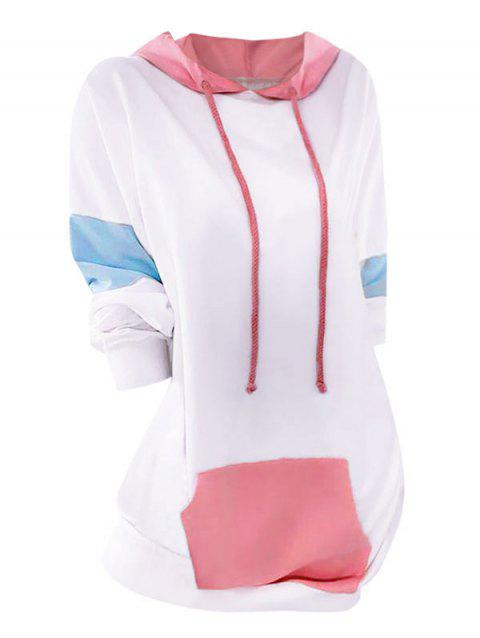 Plus Size Drop Shoulder Colorblock Pocket Longline Hoodie