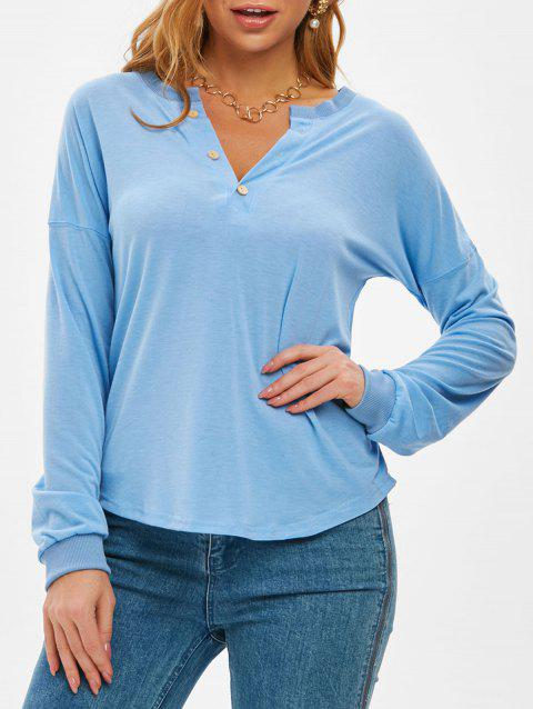 Drop Shoulder Half Placket Buttoned Tunic Sweatshirt