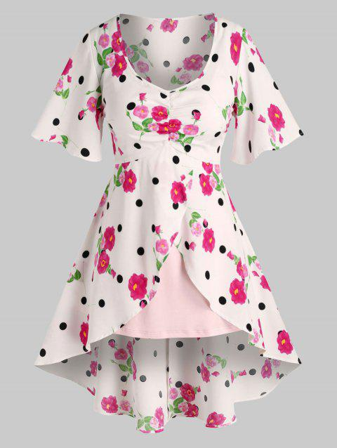 Plus Size Flower Polka Dot Long Blouse with Cami Top Set