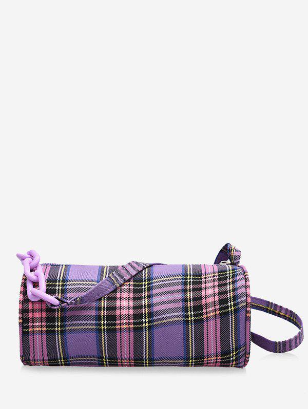 Casual Plaid Chain Mini Crossbody Bag - MAUVE