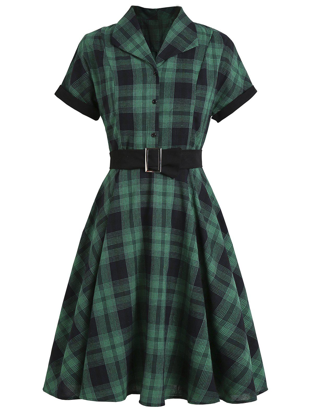 Plaid Mock Button Belted Rolled Sleeve Dress - GREEN S