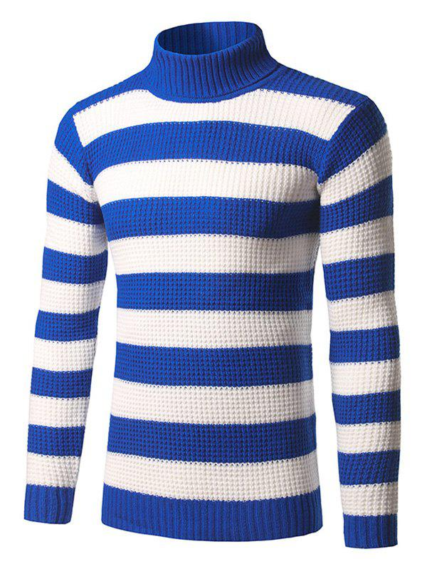 Turtleneck Striped Knit Pullover Sweater - BLUE L