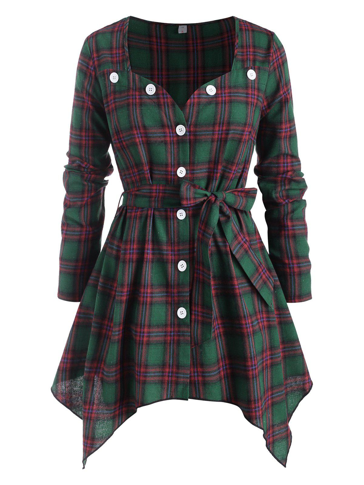 Plaid Button Up Sweetheart Belted Plus Size Blouse - GREEN 3X