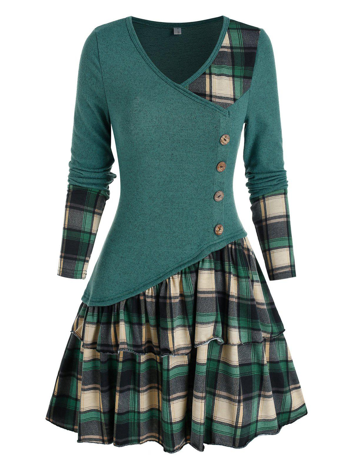 Plaid Colorblock Button Asymmetric Layered Dress - PEACOCK BLUE XL