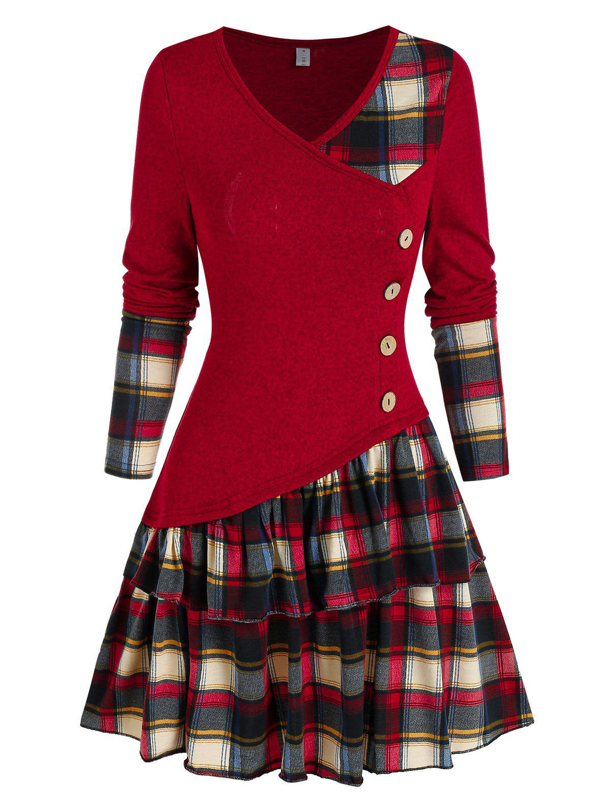 Plaid Colorblock Button Asymmetric Layered Dress - RED WINE S