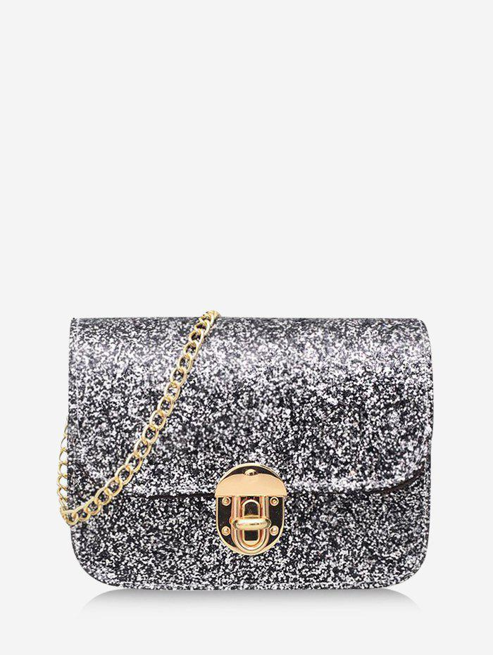 Chains Sequined Cover Crossbody Bag - BLACK