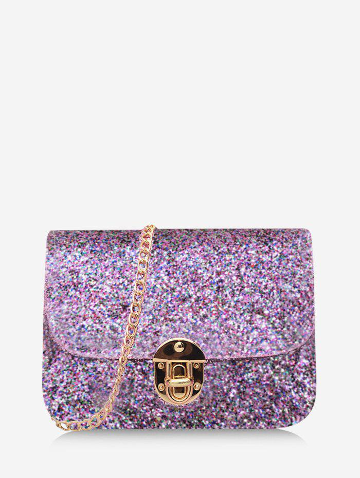 Chains Sequined Cover Crossbody Bag - MAUVE