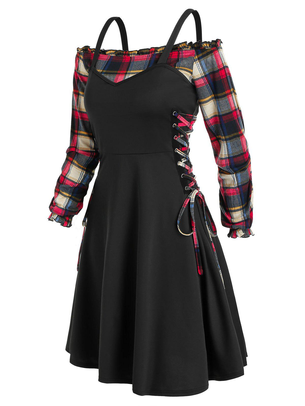 Plaid Off The Shoulder Blouse with Lace Up Dress Twinset - BLACK 3XL