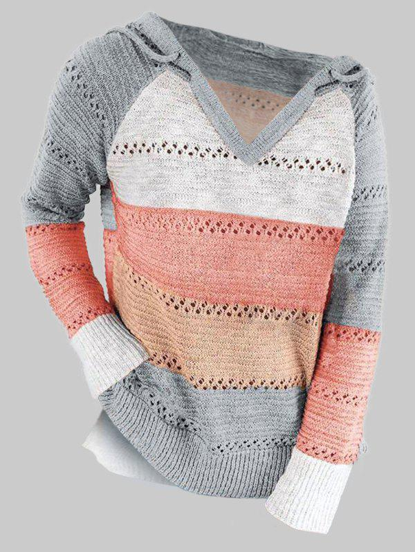 Plus Size Colorblock Hooded Slit Pointelle Knit Sweater - GRAY 2XL