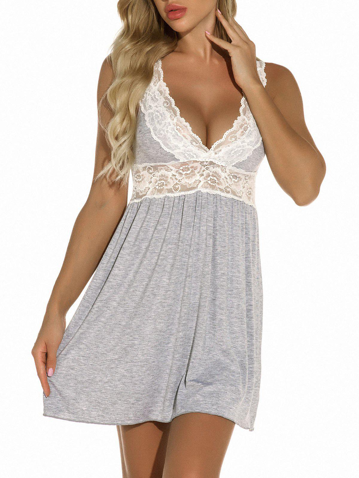 Lace Panel Jersey Chemise - LIGHT GRAY XL