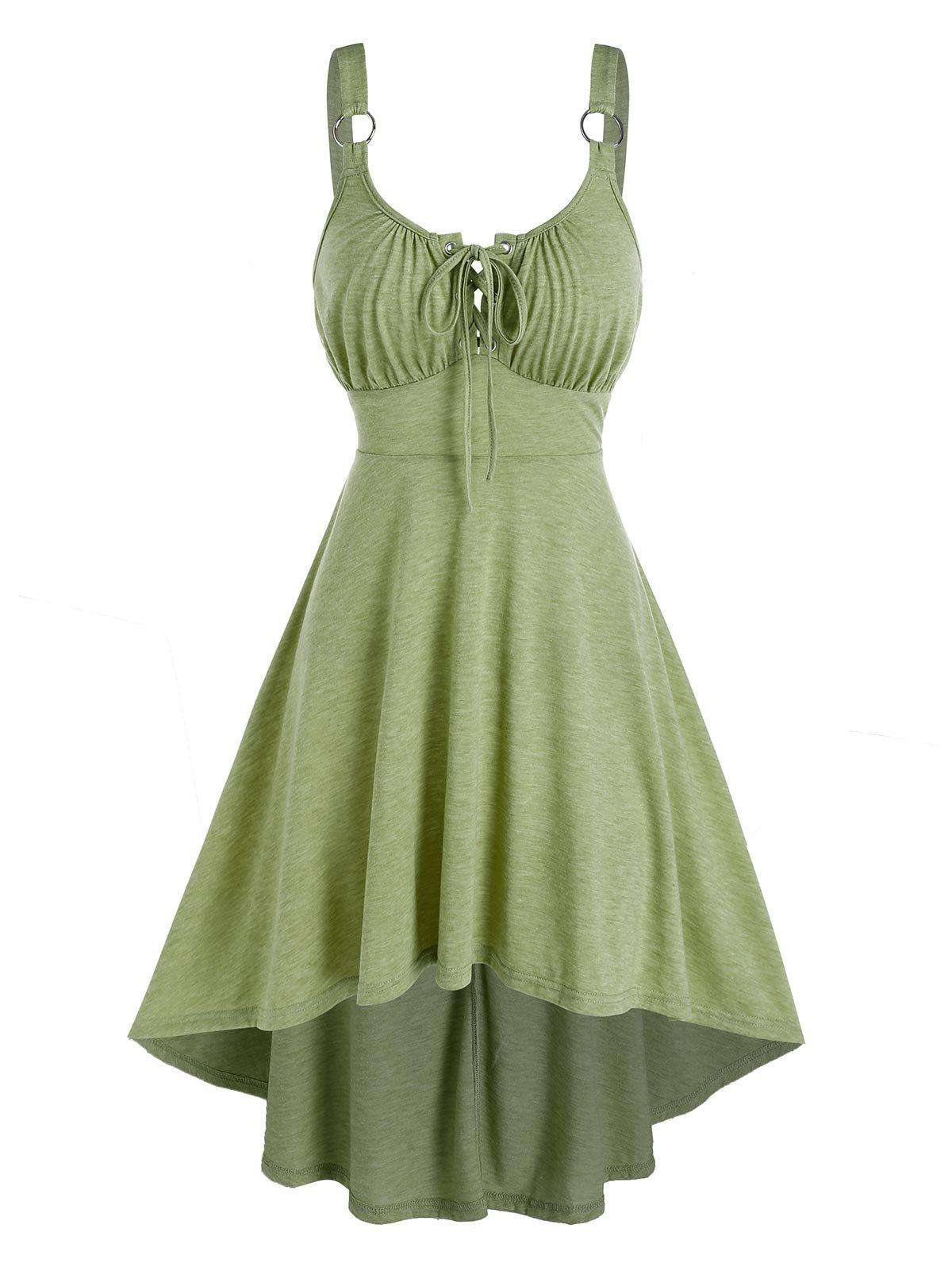 Sleeveless Lace-up Heathered High Low Dress - LIGHT GREEN 2XL