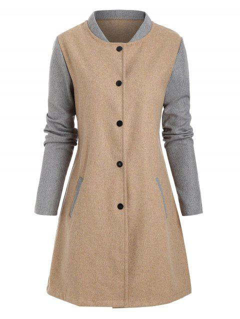 Colorblock Wool Blend Snap Button Coat