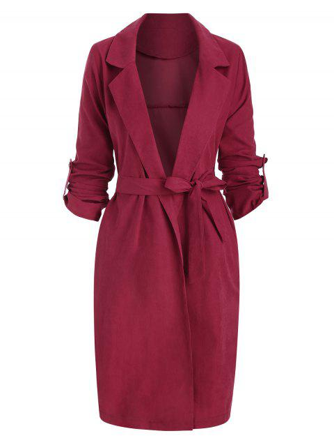 Side Slit Roll Sleeve Wrap Trench Coat