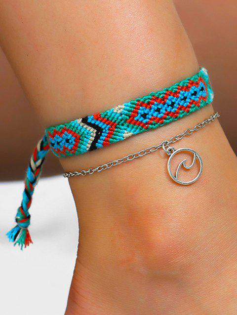 2Pcs Ethnic Sea Wave Hand-woven Anklet Set