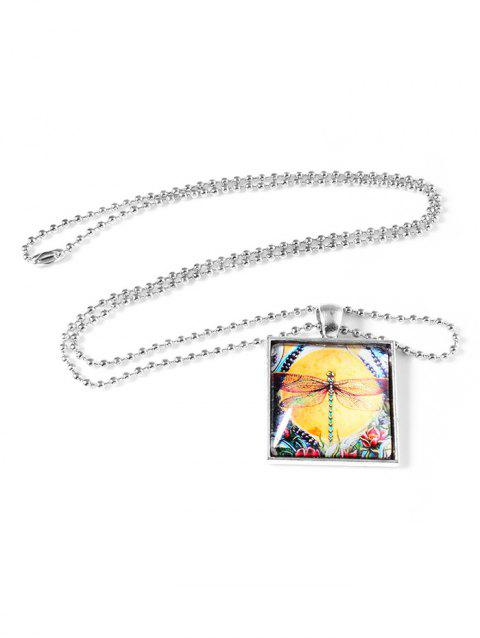 Retro Painting Dragonfly Square Pendant Necklace