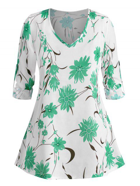Plus Size Roll Up Sleeve Floral Printed Blouse