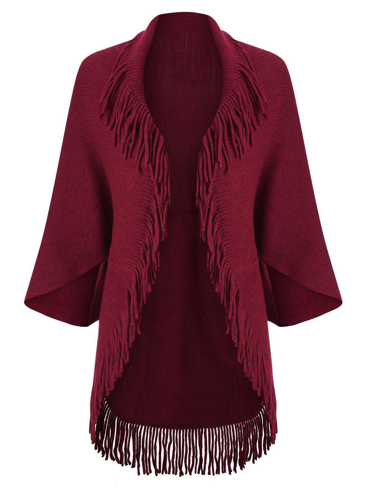 Fringed Trim Open Front Cape Cardigan - DEEP RED ONE SIZE