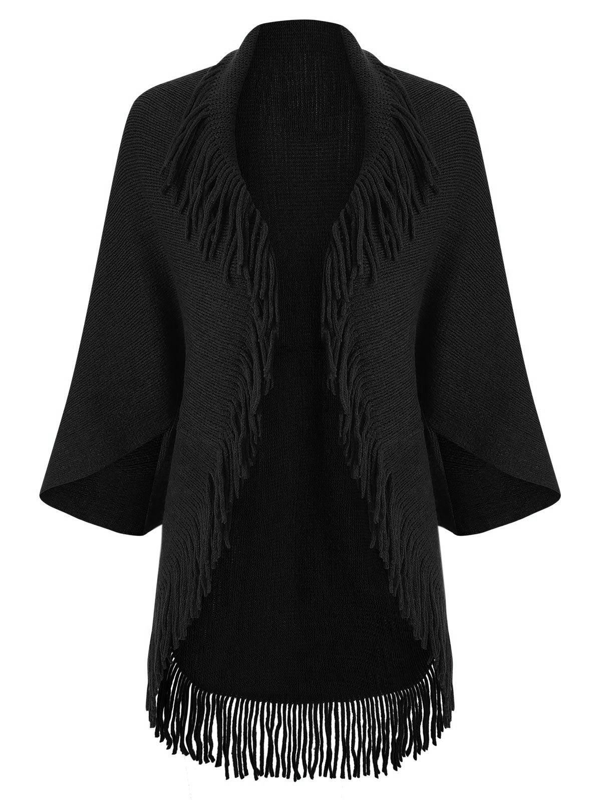 Fringed Trim Open Front Cape Cardigan - BLACK ONE SIZE