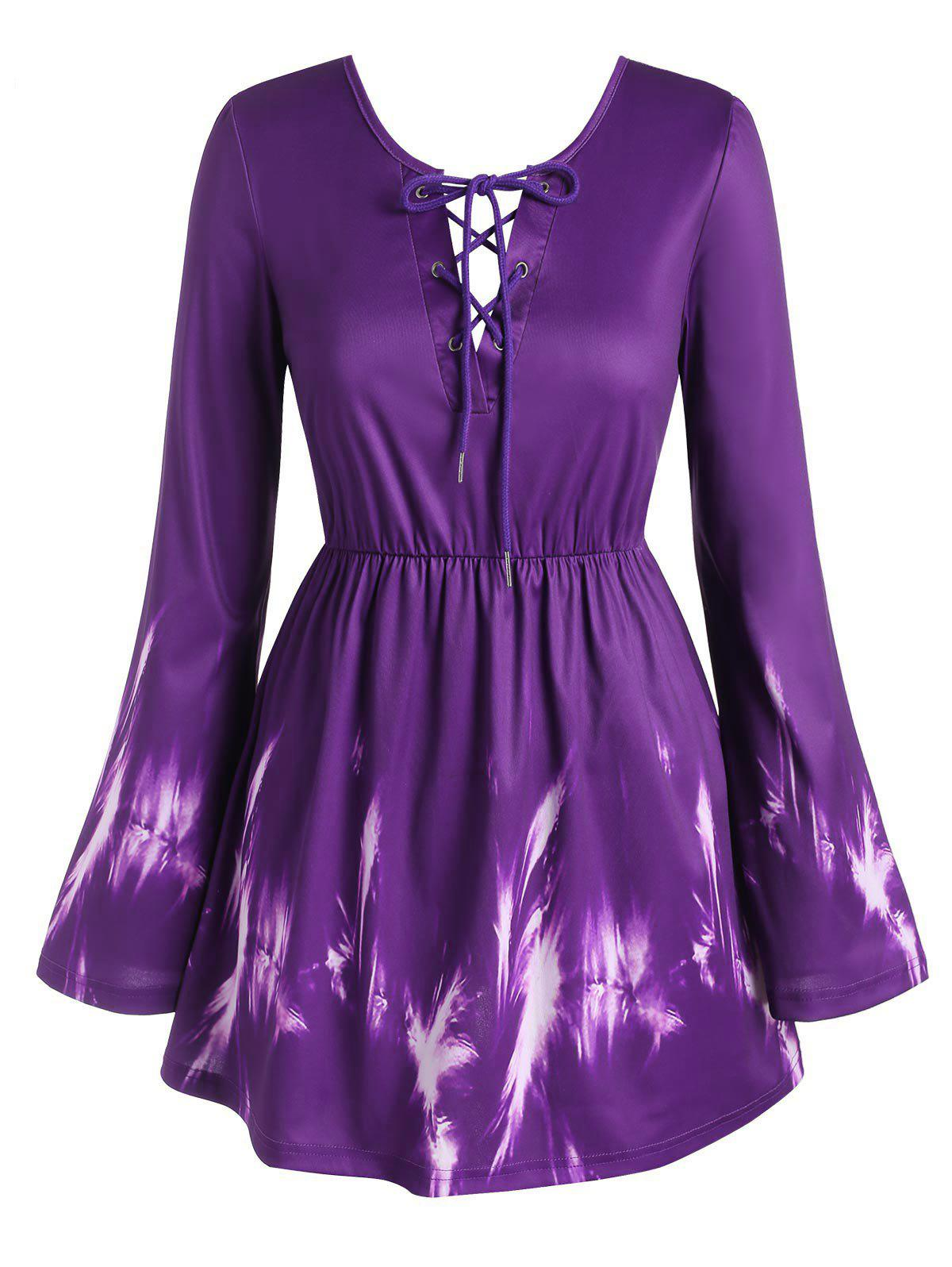 Plus Size Bell Sleeve Lace Up Bowknot Blouse - PURPLE 4X