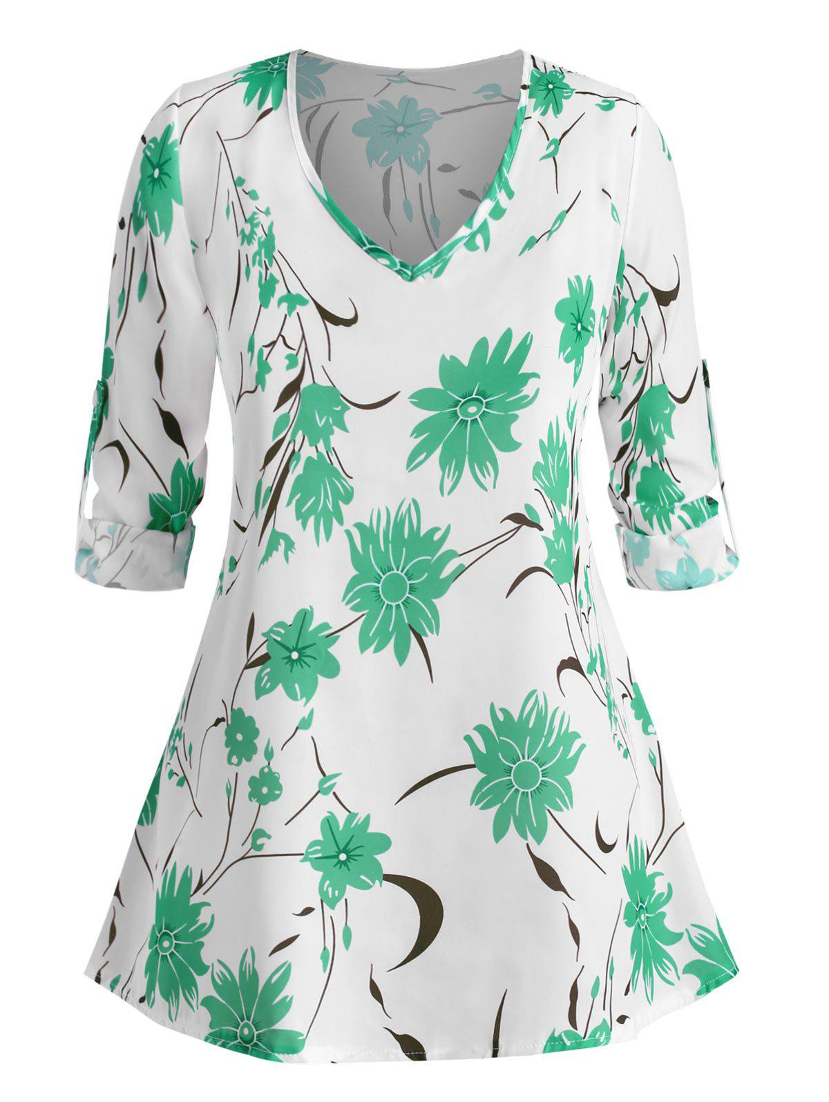 Plus Size Roll Up Sleeve Floral Printed Blouse - GREEN XL