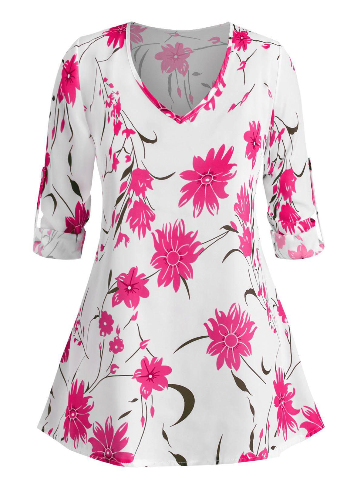 Plus Size Roll Up Sleeve Floral Printed Blouse - LIGHT PINK 2XL